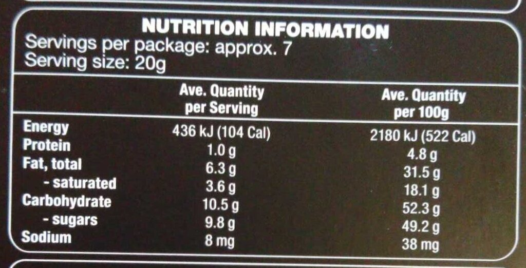 Dark Chocolate Half Egg - Nutrition facts