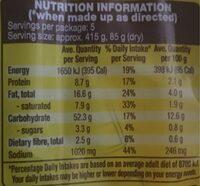 Beef flavoured noodles - Nutrition facts - en