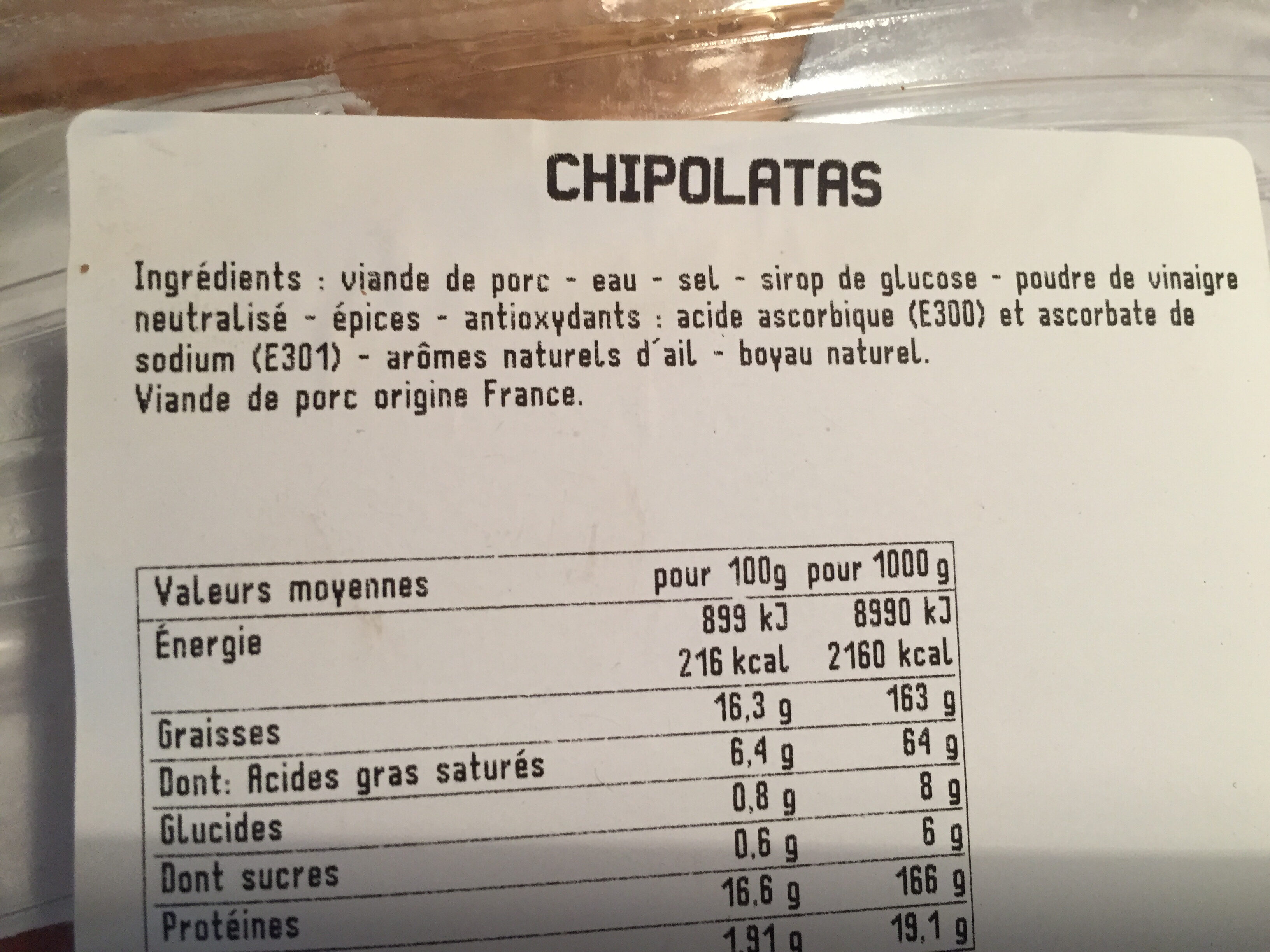 Porc fermier - Ingredienti - fr