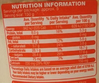 Fruit Swirled Mango Blood Orange Premium Yoghurt With a Fruit Swirl - Informations nutritionnelles - en