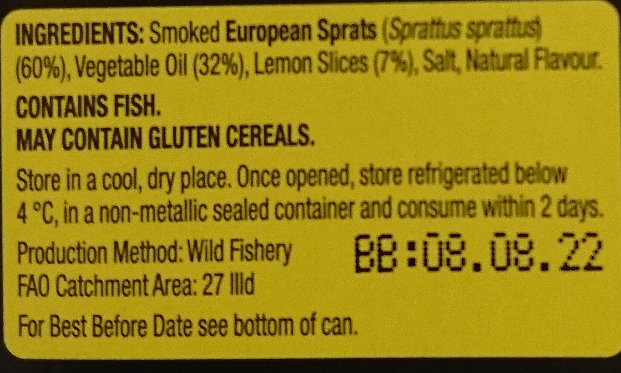Smoked Riga Sprats in oil with lemon - Ingrédients - en