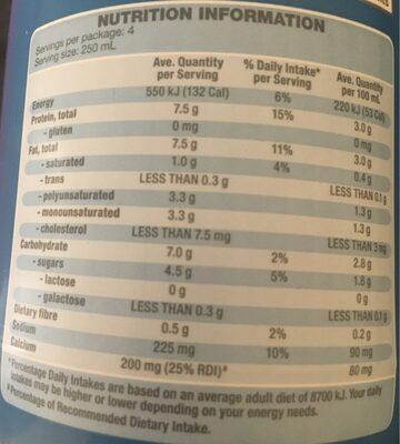 Regular Soy Milk - Nutrition facts