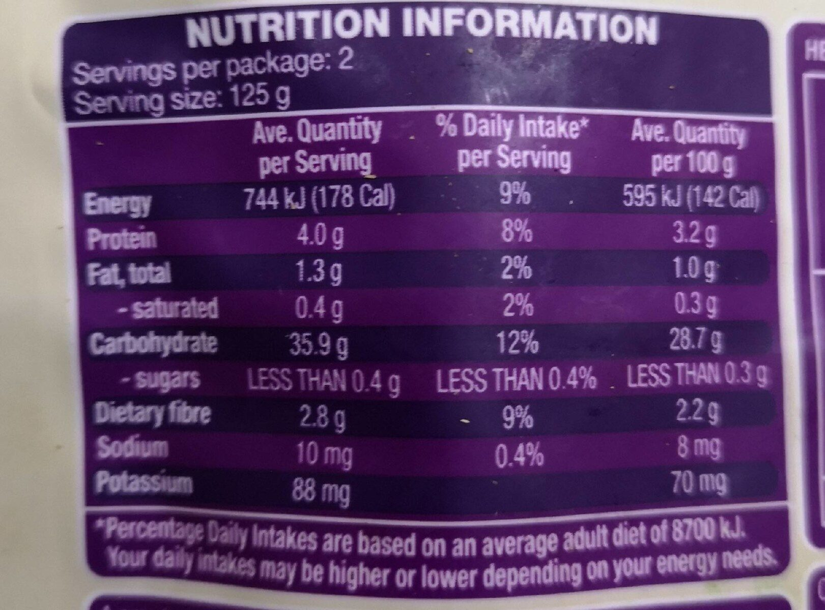 Brown Rice & Quinoa - Nutrition facts