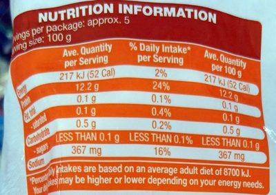 Wild Raw Peeled Prawns - Nutrition facts
