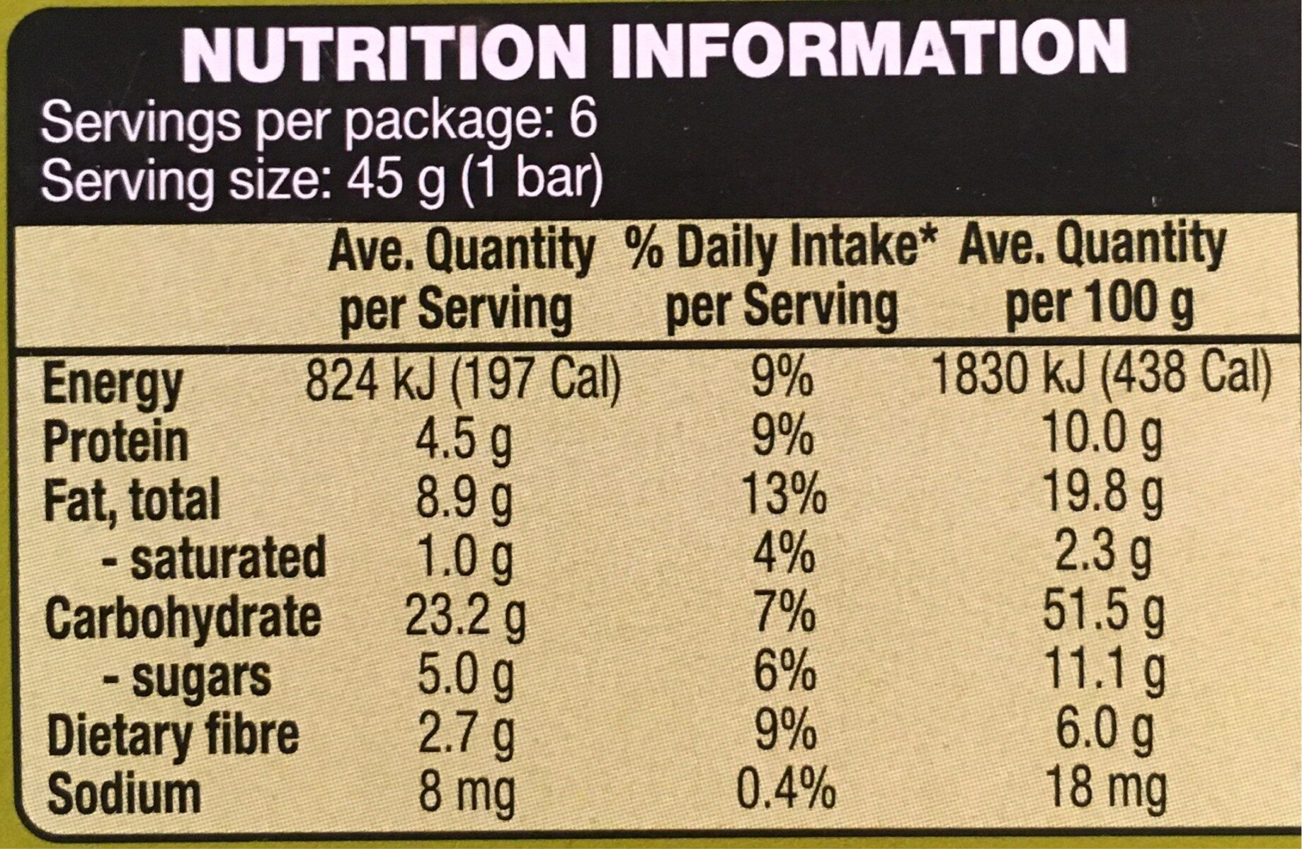 Muesli Bars Fruit Free - Nutrition facts - en