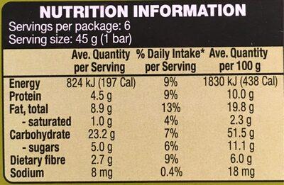 Muesli Bars Fruit Free - Informations nutritionnelles - fr