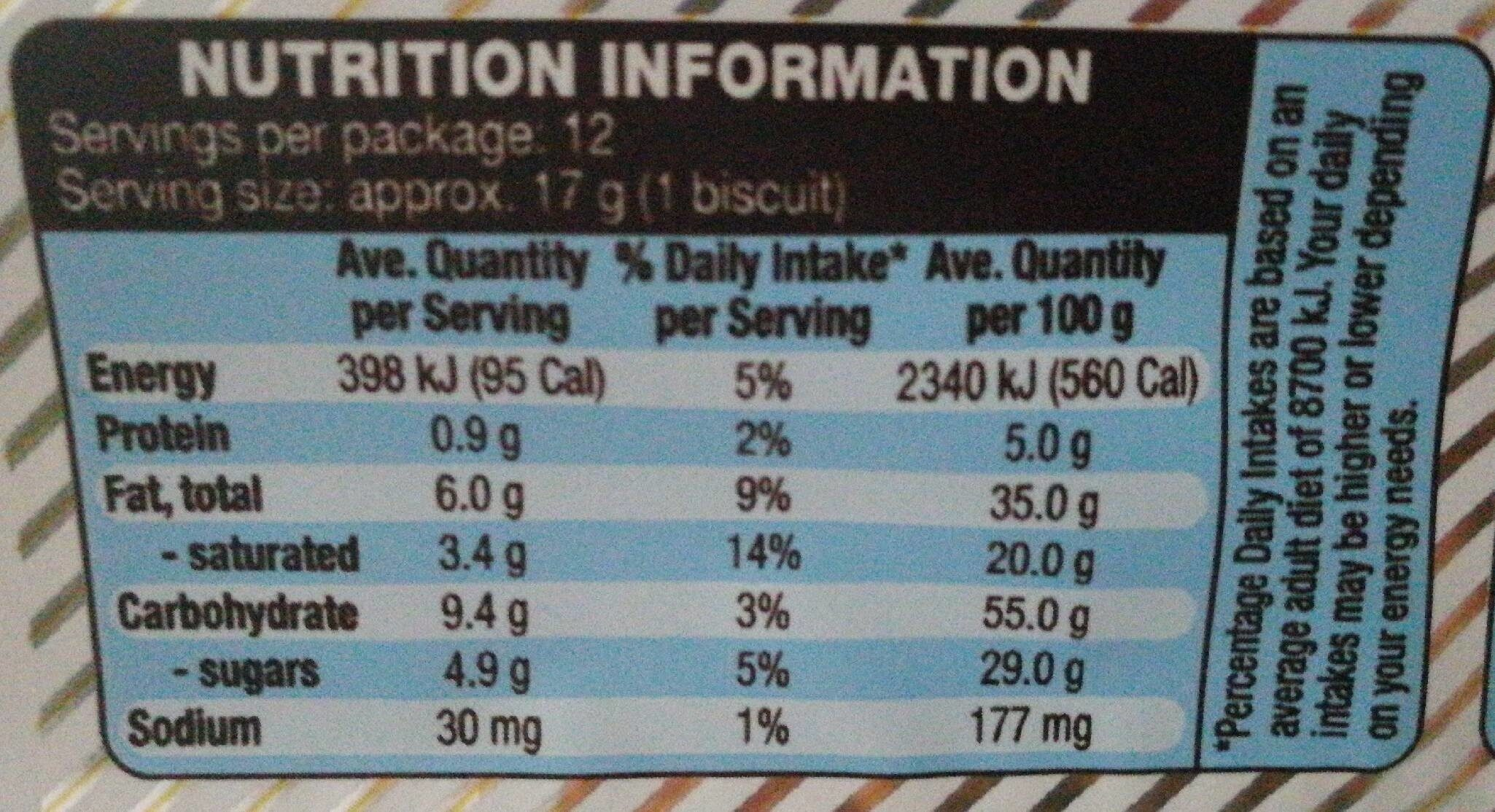 Coconut cookies - Nutrition facts - en