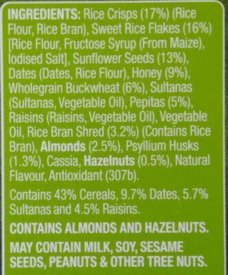 Fruity Gluten Free Muesli - Ingredients
