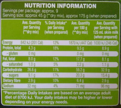 Fruity Gluten Free Muesli - Nutrition facts