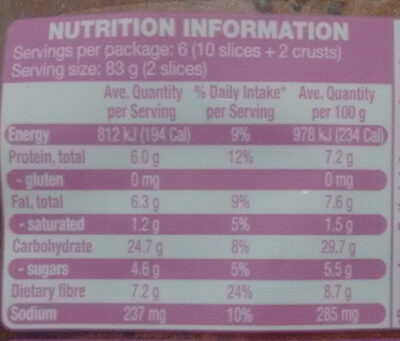 Gluten Free Seeded Sliced Bread - Nutrition facts - en
