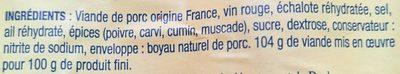 Saucisse de Montbéliard I.G.P. Cuite - Ingrédients