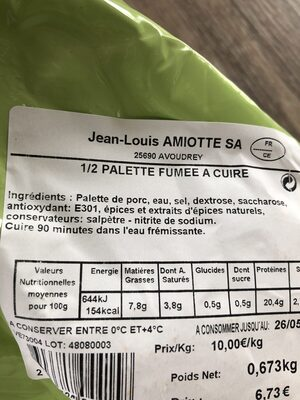 1/2 palette fumee a cuire - Ingrédients - fr