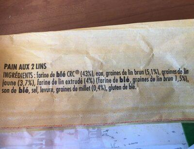 Pain aux 2 lins - Ingrédients - fr