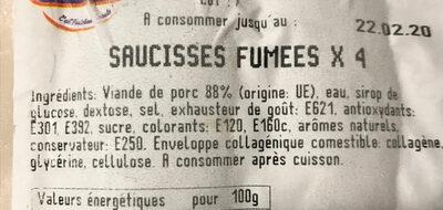 Saucisses fumées - Ingrédients - fr