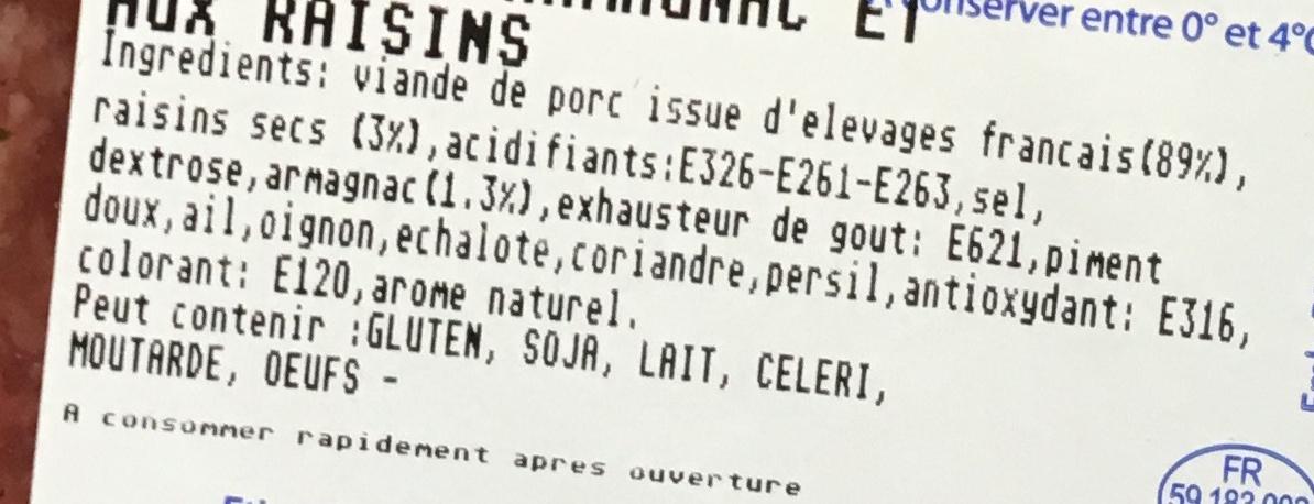 Farce à l'Armagnac et aux raisins - Ingrediënten - fr