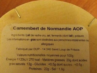 Camembert de Normandie - Ingredients - fr