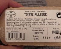 Tomme allégée - Nutrition facts - fr