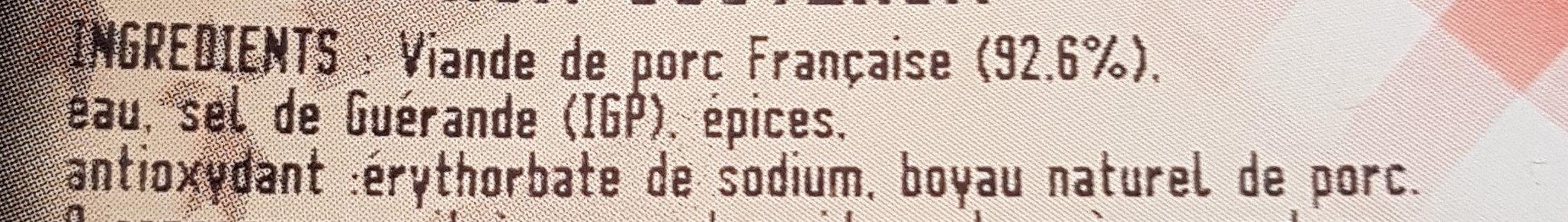 Saucisse à l'ancienne x4 coupées au couteaux - Ingredients