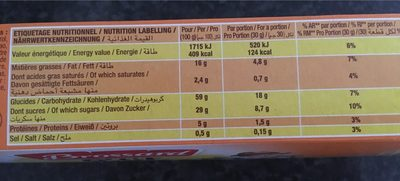 Ptit savane chocolat - Informations nutritionnelles - fr