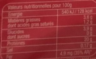 Foie de Bœuf - Nutrition facts - fr