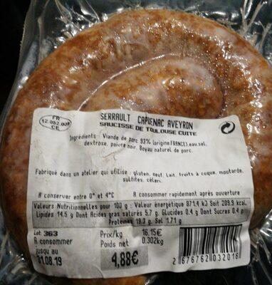 Saucisse de Toulouse cuite - Produit
