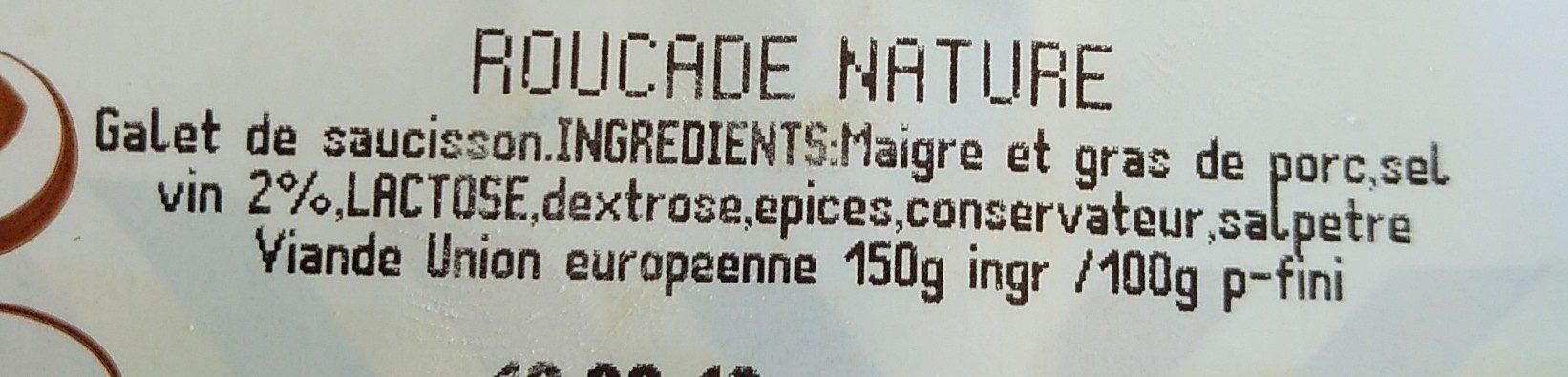 Roucade nature - Ingrédients - fr