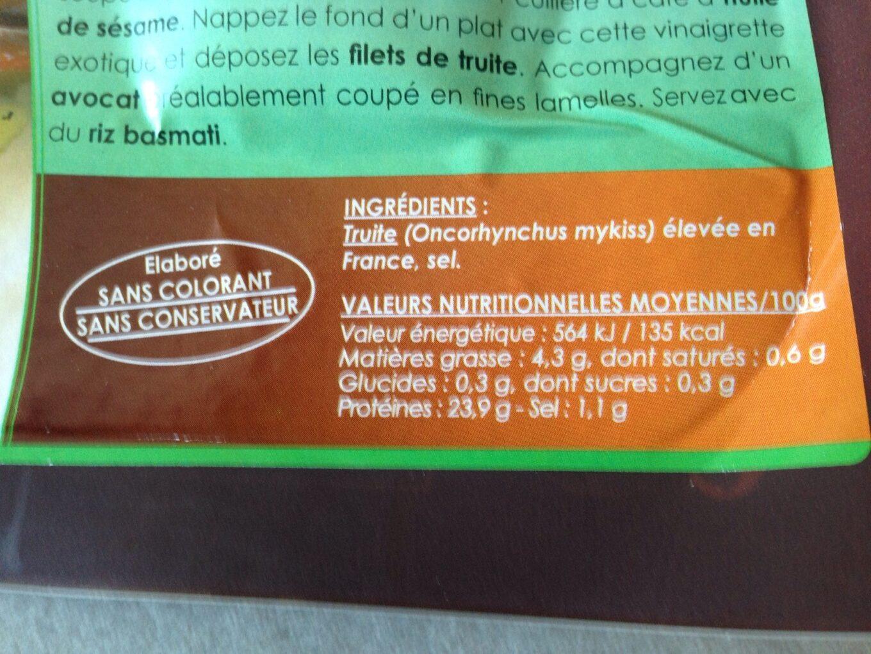 Truite cuite et fumée - Informations nutritionnelles