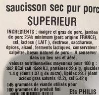 Saucisson sec pur porc - Ingrediënten - fr