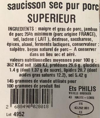 Saucisson sec pur porc - Voedingswaarden - fr