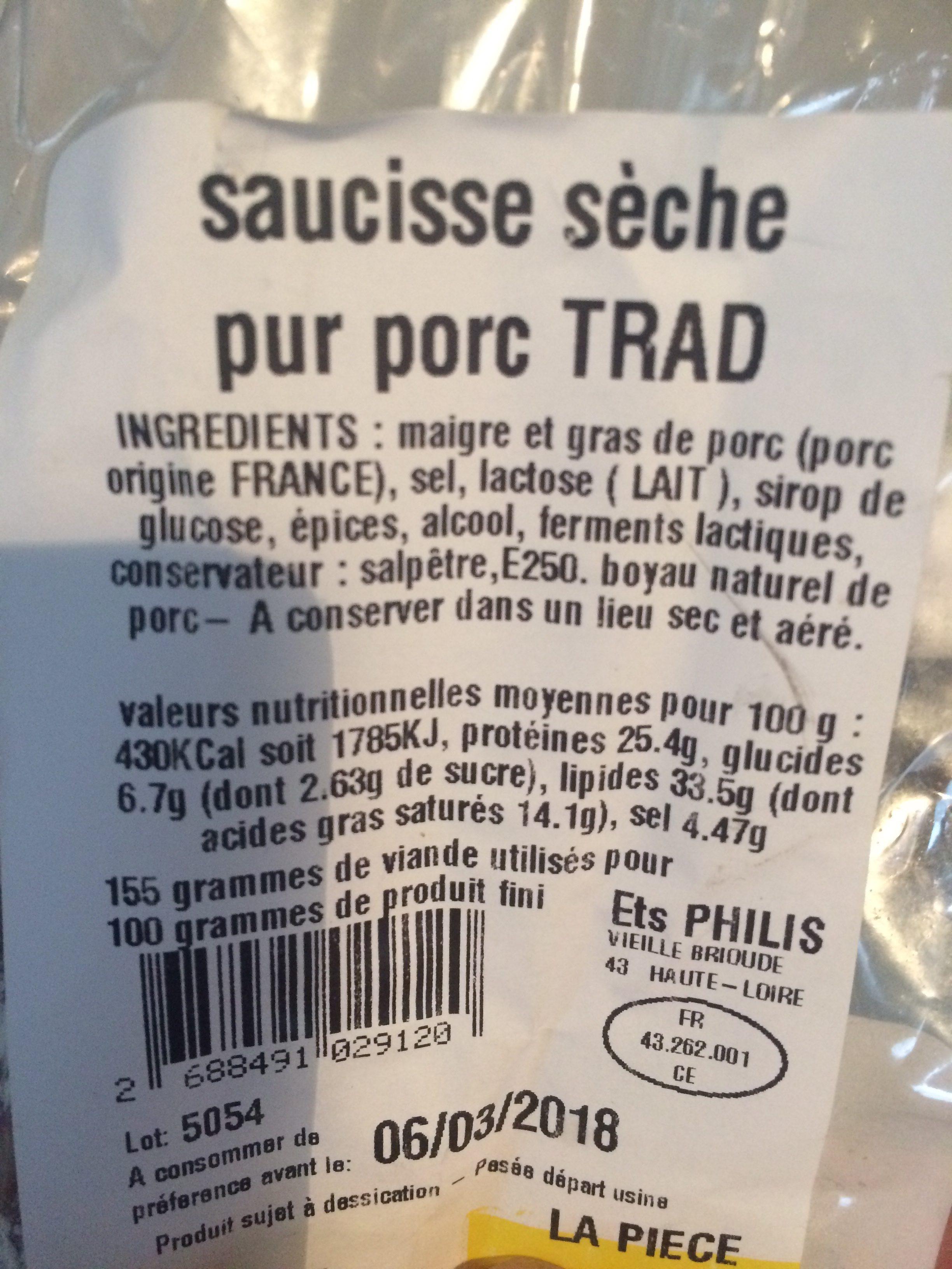Saussice seche - Ingrediënten - fr