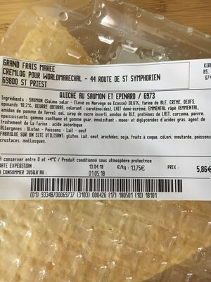 Quiche au saumon et epinard - Ingrediënten - fr
