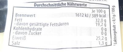 Appenzeller Switzerland Mild-Würzig - Nährwertangaben