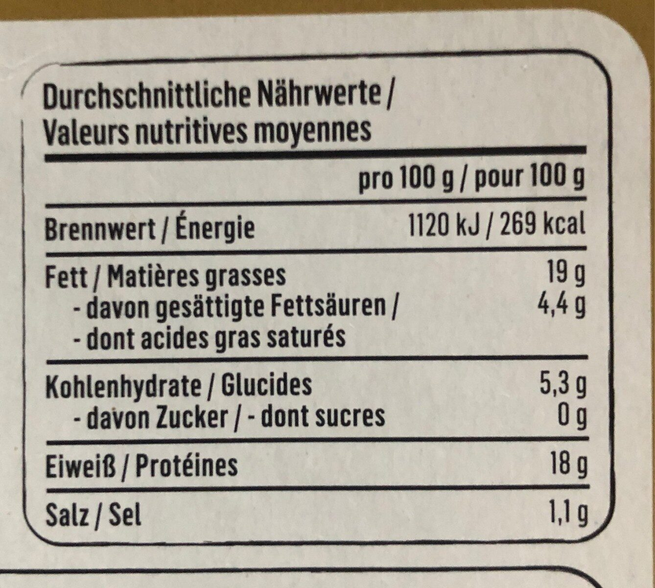 Beyond burger - Nutrition facts