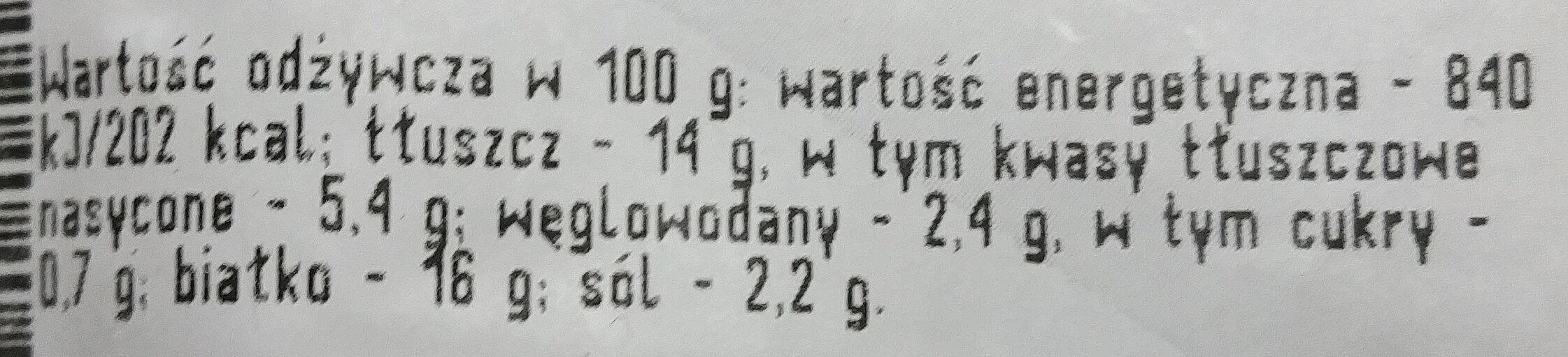 Kiełbasa Rydzyńska - Wartości odżywcze