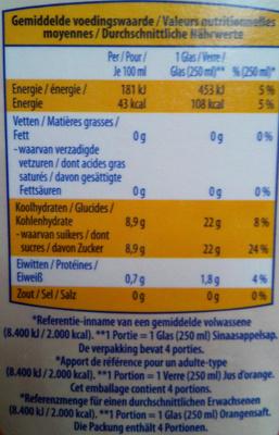 Juicy sinaasaapelsap - Voedingswaarden