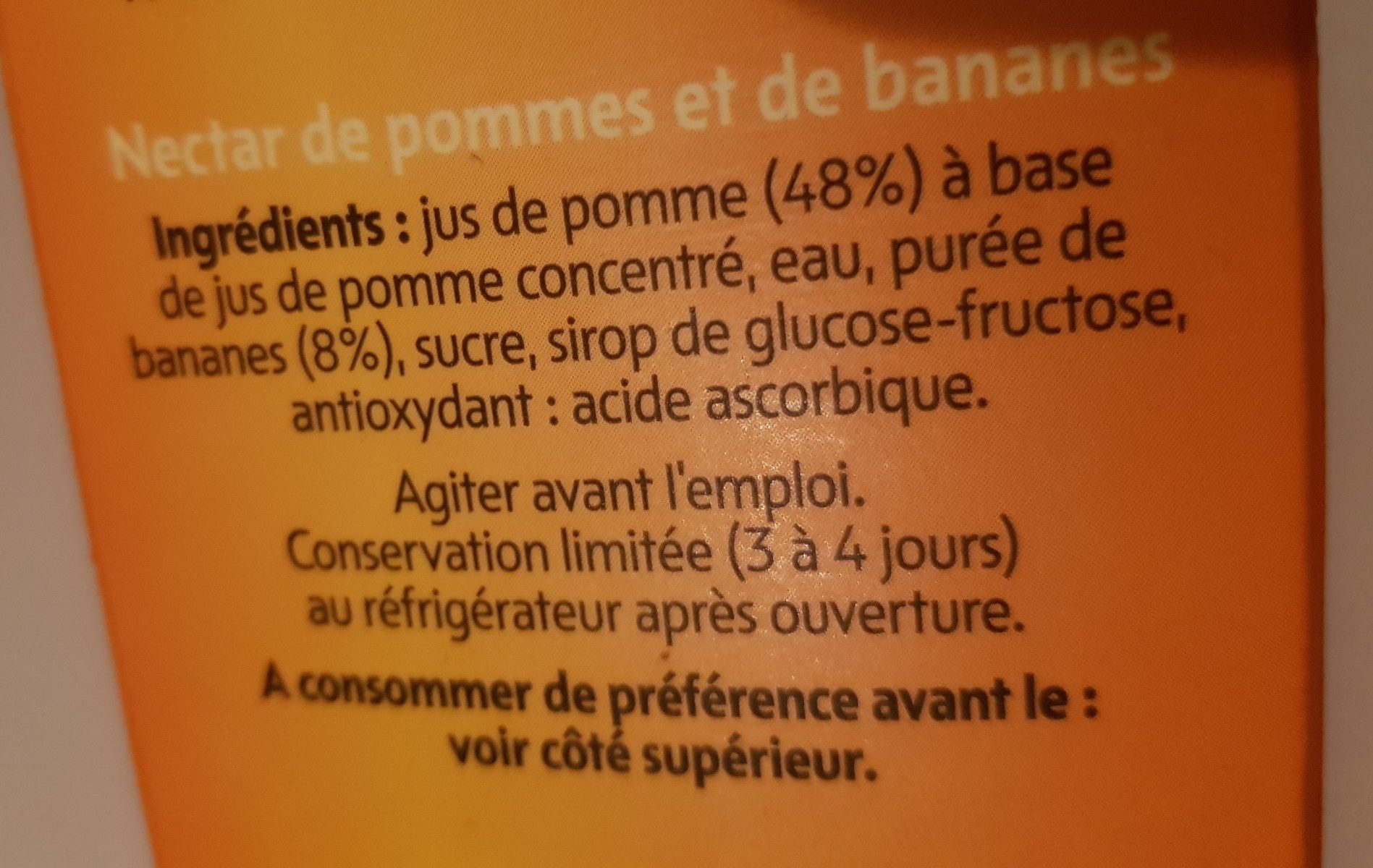 APPEL-BANANEN NECTAR - Ingredients - fr
