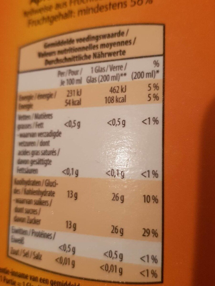 APPEL-BANANEN NECTAR - Nutrition facts - fr