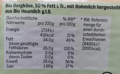 Bio Bergkäse - Ingredients - de