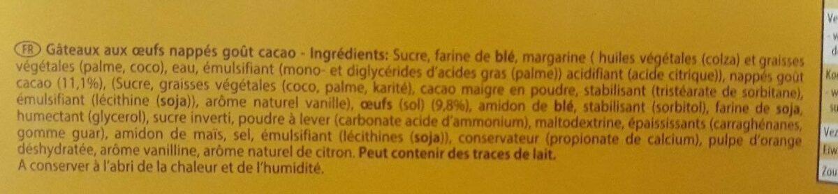 Gâteaux aux oeufs - Ingrediënten - fr