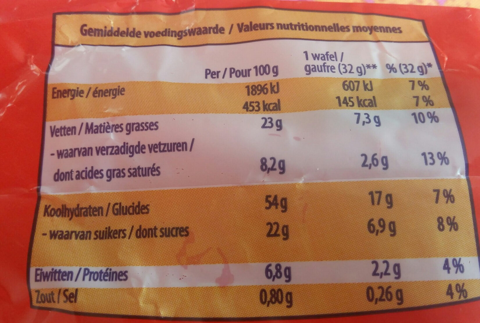 Gaufres - Nutrition facts - fr