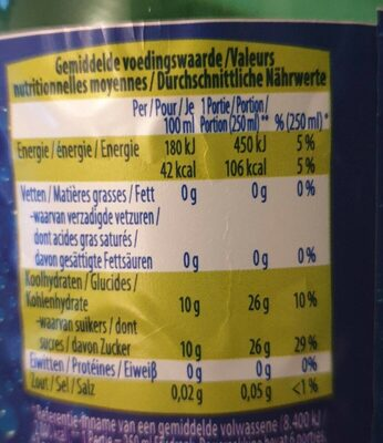 Limonade Citron River - Voedingswaarden - fr