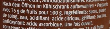 Les spécialités Coings - Ingrédients - fr