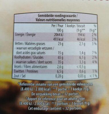 Biscuit au beurre chocolatés - Voedingswaarden - fr
