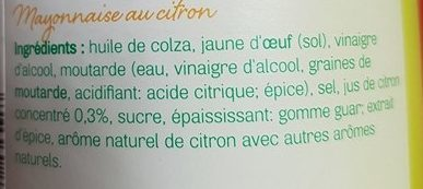 Mayon(n)aise au Citron - Ingrediënten - fr