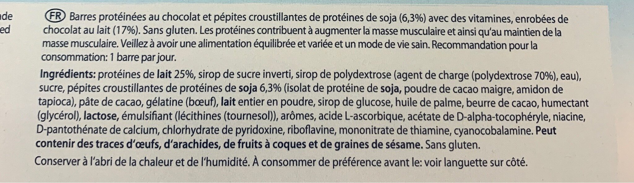 Barre Proteine - Ingredients
