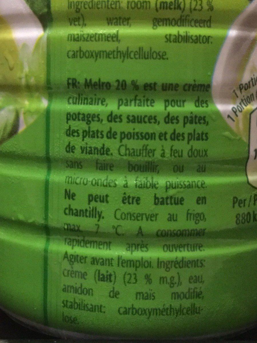 Crème Culinaire 250ml - Ingrediënten - fr