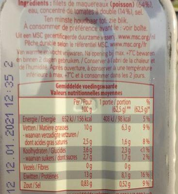 Filets de maquereaux à la sauce tomates - Ingredients