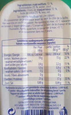 Filets de maquereaux à huile de colza - Valori nutrizionali - fr