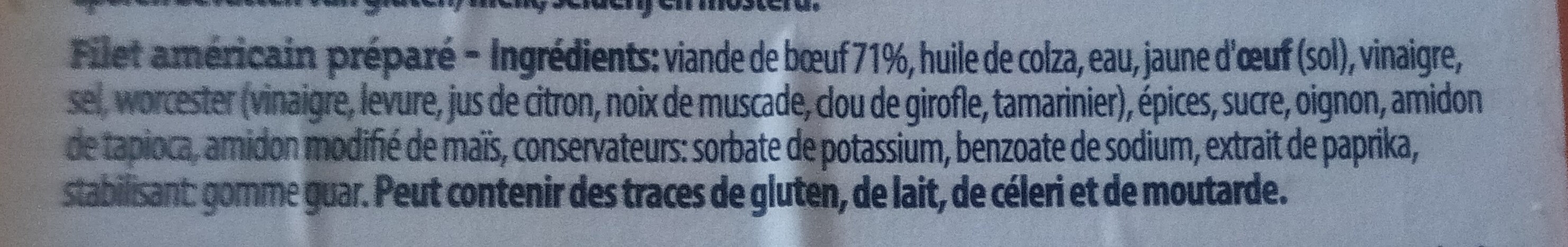 Filet américain préparé - Ingrediënten - fr