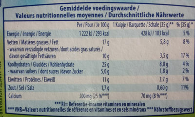 Les croquins - Voedingswaarden - fr
